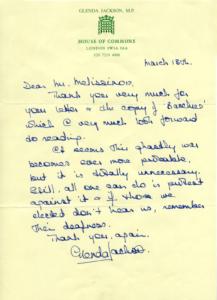 Επιστολή Glenda Jackson στον Παντελή Μελισσινό.
