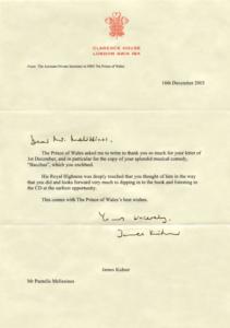 Επιστολή του πρίγκιπα Καρόλου στον Παντελή Μελισσινού.