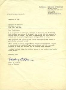 Επιστολή του πρύτανη του Parsons School of Design που ενημερώνει τον Παντελή Μελισσινό ότι μπήκε στην Πρυτανική Λίστα Αριστείας - Νέα Υόρκη 1984